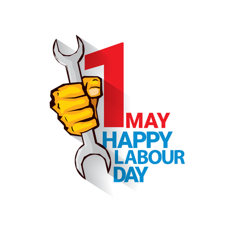 Happy labour day vector label with strong orange fist isolated on white background. vector happy labor day background or banner with man hand. workers day poster Illustration