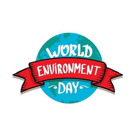 world environment day vector label