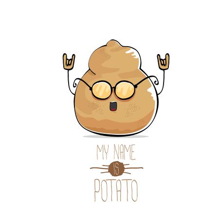 Vector funny cartoon cute brown potato Illustration