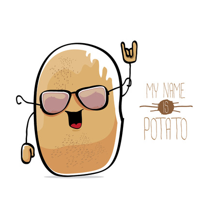 Vector funny cartoon cute brown potato Illustration