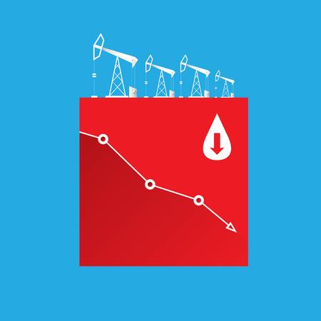Oil price falling down graph illustration. vector Illustration