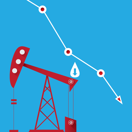 Oil price falling down graph illustration. vector Illustration