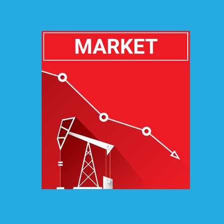 occurrence: Oil price falling down graph illustration. vector Illustration