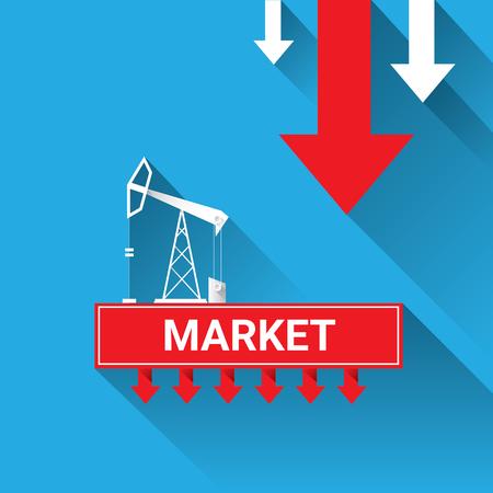 brent: Oil price falling down graph illustration. vector Illustration