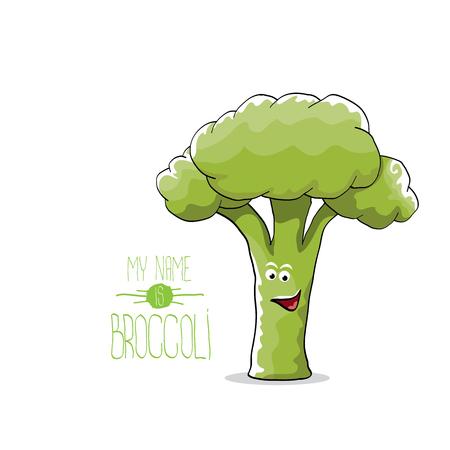 かわいい緑のブロッコリーの面白い漫画のキャラクターをベクトルします。  イラスト・ベクター素材