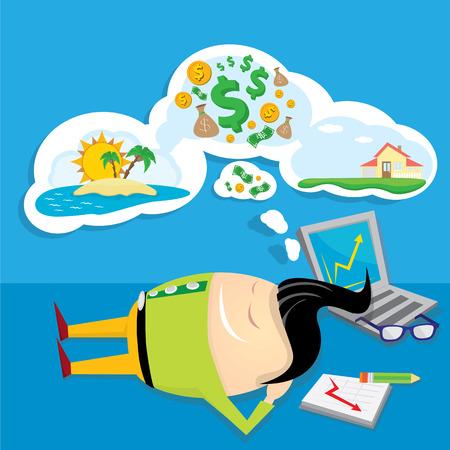 sleeping bags: Business man dreaming. cartoon illustration