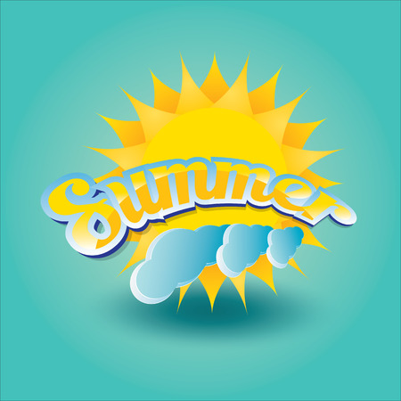 vector summer label. summer icon with sun. Illustration