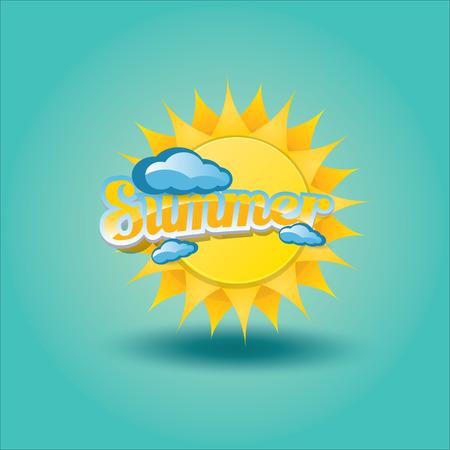 vector summer label. summer icon with sun. Illustration