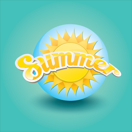 shiny buttons: vector summer label. summer icon with sun. Illustration