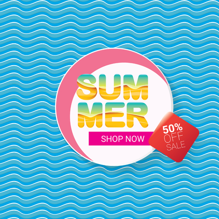 Summer sale bright label design template .