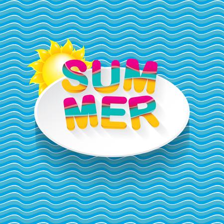 wave hello: Summer sale bright label design template .