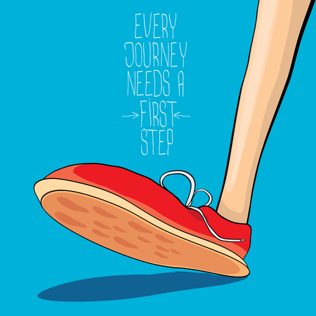 vector hipster sneakers with motivation quote