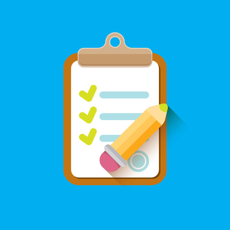vector Clipboard icon with checkmarks and pencil