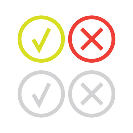 line green check mark or check box icons set