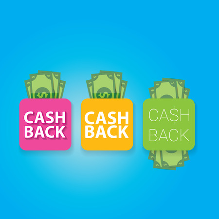 cash: vector cash back icon isolated on blue background.