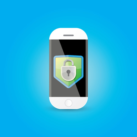 big screen: Mobile security app screen with shield and lock Illustration