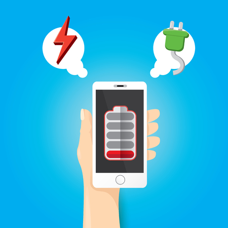 vector man hand holding smartphone with red low battery icon on the screen.