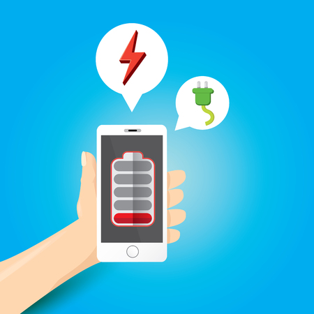 low energy: vector man hand holding smartphone with red low battery icon on the screen.