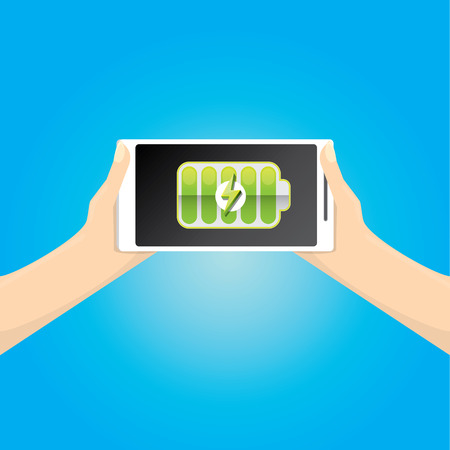 smartphone with green full battery icon on screen.