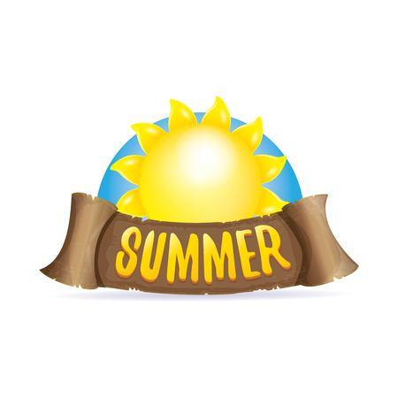 vector summer label with orange sun Çizim
