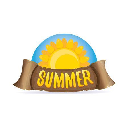 vector summer label with orange sun Illustration
