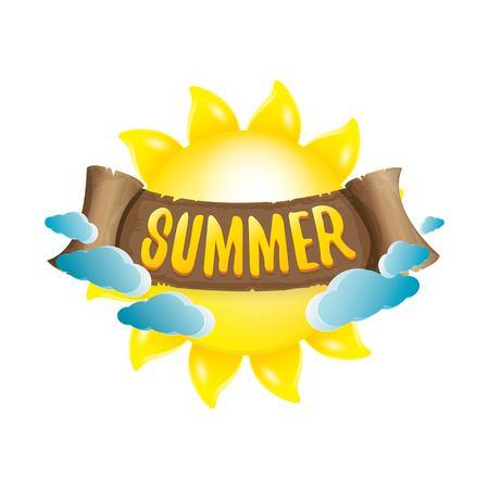 beach sunset: vector summer label with orange sun Illustration