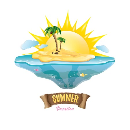 wave hello: vector summer label with island tropical beach