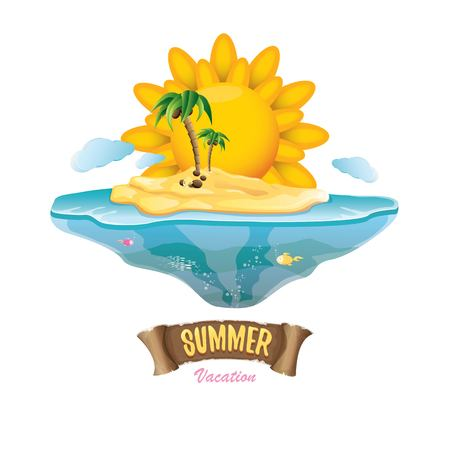 tree logo: vector summer label with island tropical beach