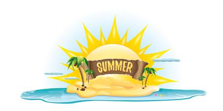 beach sunset: vector summer label with island tropical beach