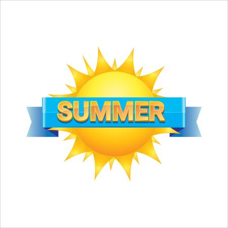 beach sunset: vector summer label. summer icon with sun. Illustration