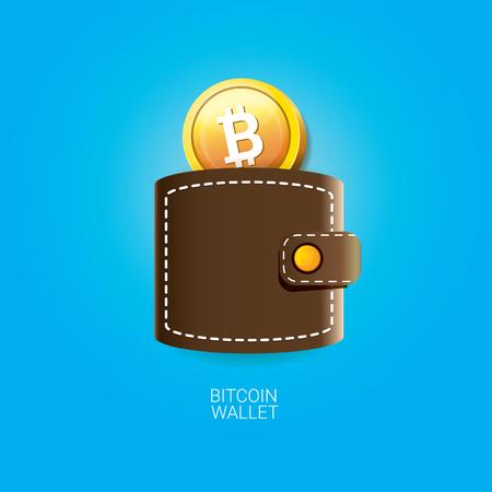 Icona di portafoglio bitcoin vettoriale con le monete Vettoriali