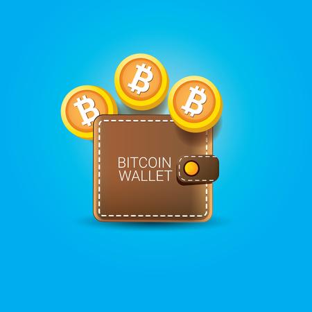 vector bitcoin billetera icono con monedas