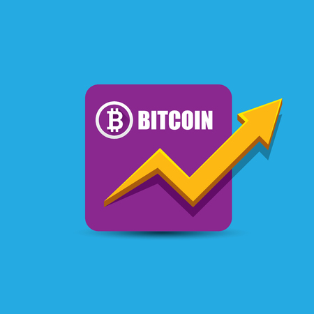 vector bitcoin growth graph on blue background.