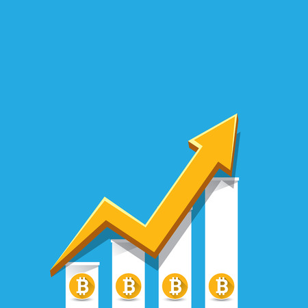 vector bitcoin growth graph on blue background. Stock Illustratie