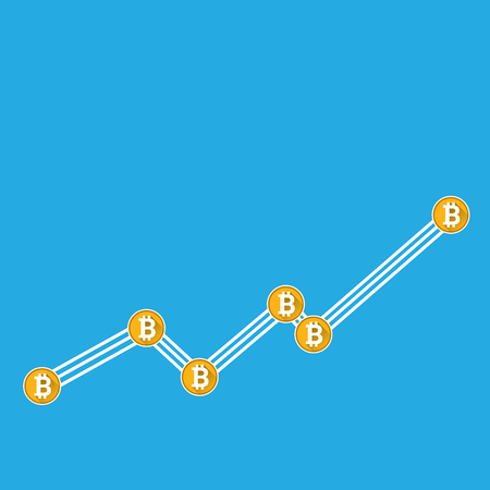 vector bitcoin growth graph on blue background. Stock Photo