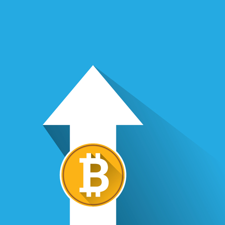 hype: vector bitcoin growth graph on blue background. Stock Photo