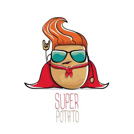 vector funny cartoon cute brown super potato Vectores
