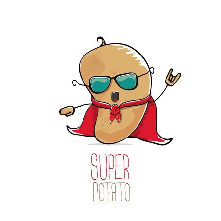 vector funny cartoon cute brown super potato Illustration