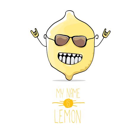 vector funny cartoon cute yellow lemon Illustration