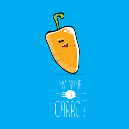 vector funny cartoon cute orange carrot isolated on blue background. My name is carrot Stock Photo
