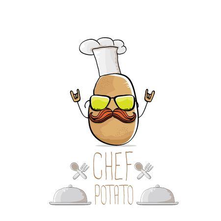 vector funny cartoon cute brown chef potato