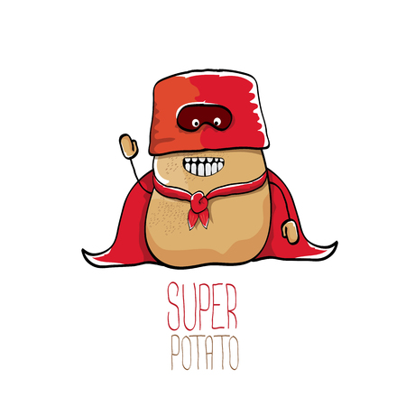 vector funny cartoon cute brown super potato Illustration
