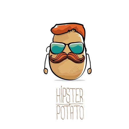 vector funny cartoon cute brown hipster potato
