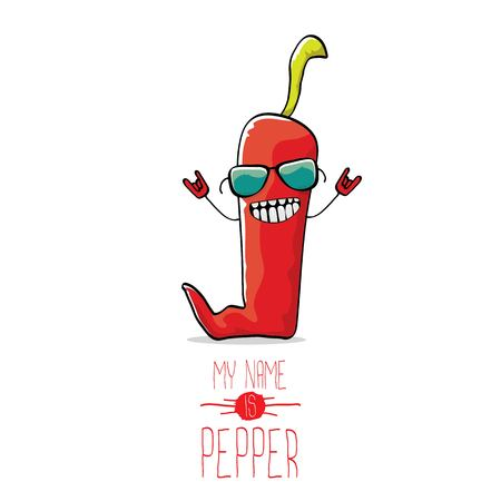 vector funny cartoon red pepper character isolated