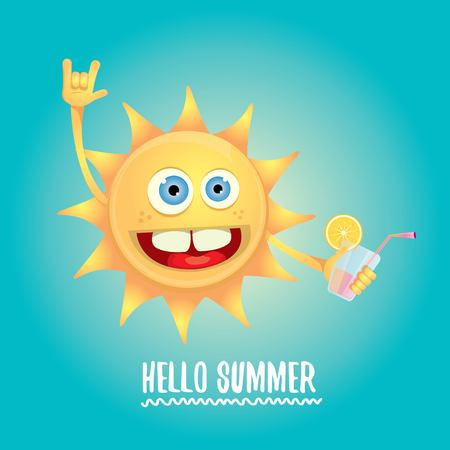 Hello Summer Rock N Roll Vector Label Or Logo. Illustration