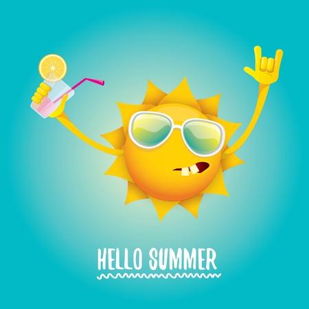 hello summer rock n roll vector label or logo. Illustration