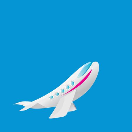 vector cartoon airplane flying in blue sky