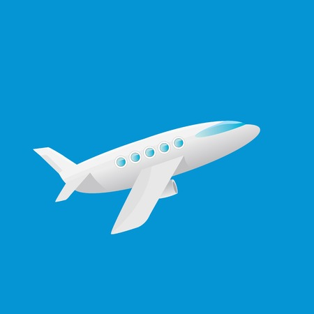 jetliner: vector cartoon airplane flying in blue sky