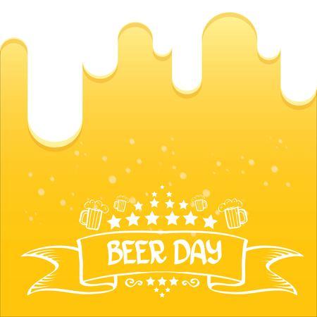 fondo de vector de día de cerveza internacional. Diseño de vector de cerveza naranja. Feliz día de la cerveza de gráficos vectoriales.