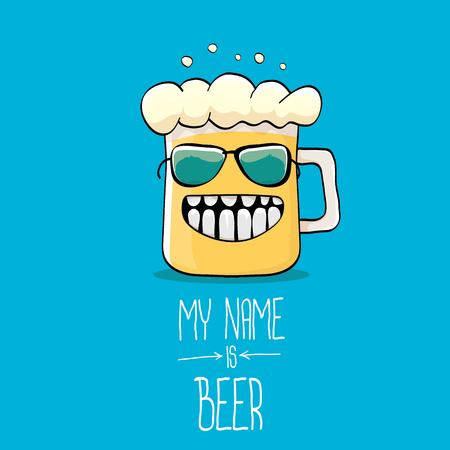 vector cartoon funky beer glass character on blue Illustration